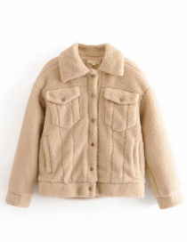 Fashion Camel Faux Wool Panel Cardigan