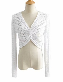 Fashion White Hollow Crocheted Pleated V-neck Knit Top