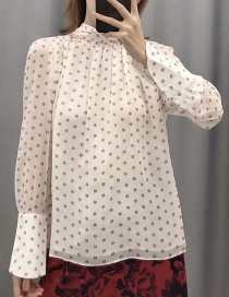 Fashion Beige Geometric Print Lace-up Shirt