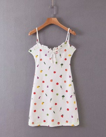 Fashion White Fruit Print Camisole Dress