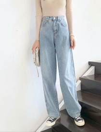Fashion Light Blue Washed High-rise Wide-leg Jeans