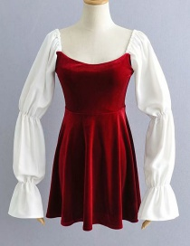 Fashion Red Chiffon Paneled Velvet Colorblock Dress