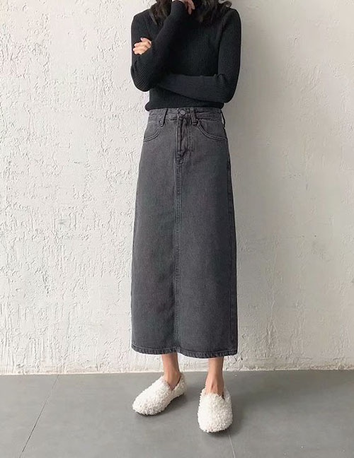 Fashion Gray-black Back Split Midi Denim Skirt