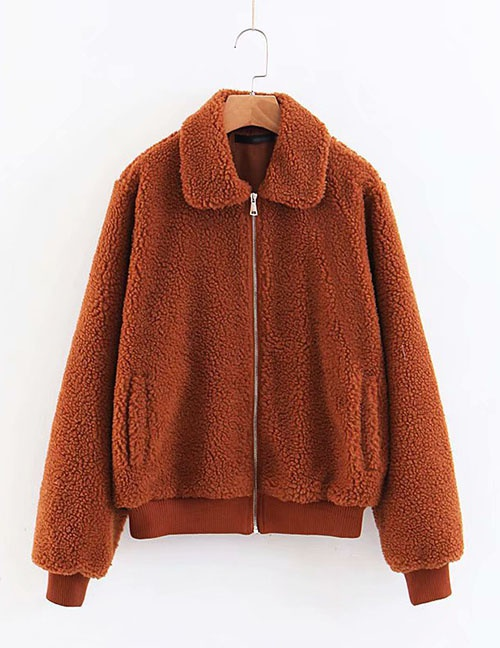 Fashion Brown Lamb Wool Short Zip Coat