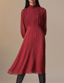Fashion Red Geometric Dot Print Dress