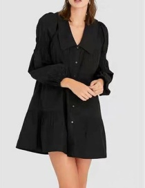 Fashion Black High-waist Ruffled Lapel Dress