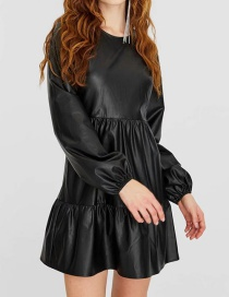 Fashion Black Pu Leather Ruffle Dress
