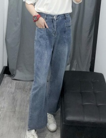 Fashion Blue Washed Mop Jeans