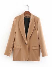 Fashion Camel Flap Pocket Suit