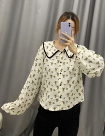Fashion Off-white Mouse-print Single-breasted Shirt