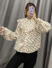 Fashion Off-white Cat And Mouse Printed Ruffled Single-breasted Shirt