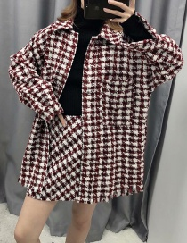 Fashion Wine Red Tweed Lapel Coat