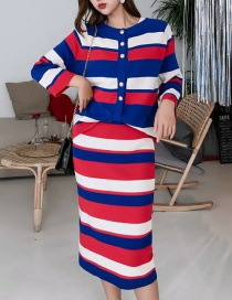 Fashion Color Striped Knit Three-piece Suit
