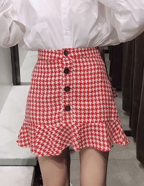 Fashion Red Houndstooth Check Single-breasted Skirt