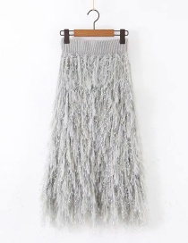 Fashion Gray Feather Fringed Knitted Skirt