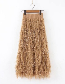 Fashion Khaki Feather Fringed Knitted Skirt
