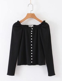 Fashion Black Knitted T-shirt With Stretch Thread Love Button