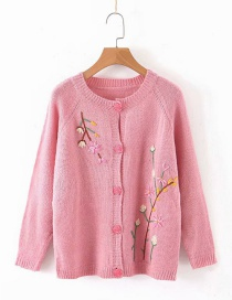Fashion Pink Embroidered Floret V-neck Single-breasted Cardigan Sweater