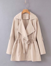 Fashion Khaki Lapel Bandwidth Loose Trench Coat