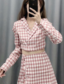 Fashion Red Short Check Small Suit