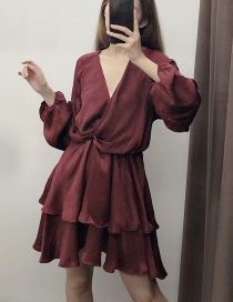 Fashion Wine Red Stacked Silk-satin V-neck Pleated Dress