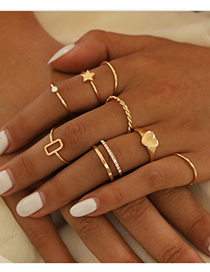 Fashion Golden Alloy Love Ring Set