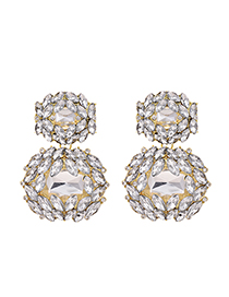 Fashion White Alloy Stud Earrings With Diamonds