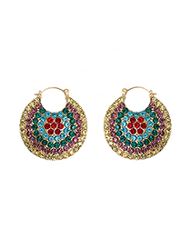 Fashion Blue Color Geometric Round Earrings With Diamonds