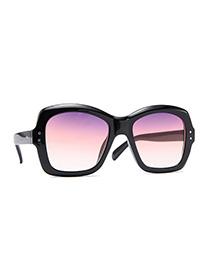 Fashion Black Frame Purple Powder White Large Frame Wide Beam Geometric Sunglasses