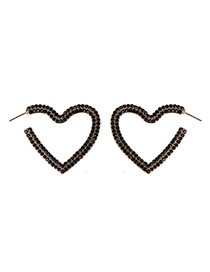 Fashion Black Alloy Love Diamond Stud Earrings