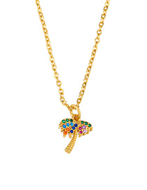 Fashion Golden Coconut Necklace With Diamonds