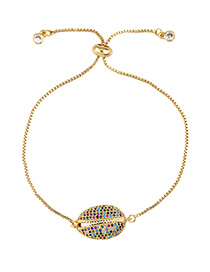 Fashion Color Adjustable Shell Bracelet With Diamonds