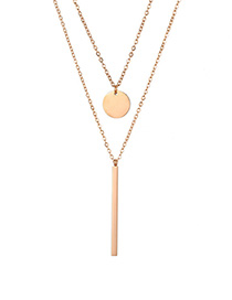 Fashion Rose Gold Rectangular Small Round Stainless Steel Double Necklace Lock