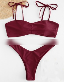 Fashion Wine Red Tie-tie Strap Paneled Swimsuit