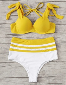 Fashion Yellow Tie Knot Contrast Hard Pack Split Swimsuit