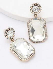 Fashion White Alloy Diamond Geometric Earrings With Irregular Facets