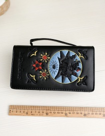 Fashion Black Pu Embroidered Clutch