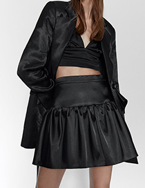 Fashion Black Forged High-waist Paneled Pleated Skirt