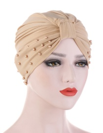 Fashion Beige Crystal Studded Pearl Turban Hat