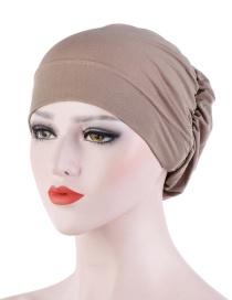 Fashion Khaki Crinkled Crystal Hemp Hooded Back