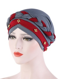 Fashion Gray + Wine Red Two-tone Braided Contrast Beaded Turban Hat