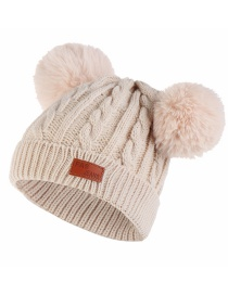 Fashion Color Ball-beige Thick Double Wool Ball With Standard Children's Wool Hat