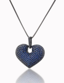 Fashion Black And Blue Zirconium Plating Brass Plating Love Diamond Necklace