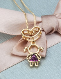 Fashion Gilded Woman Love Heart Hollow Girl Necklace With Diamonds