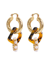 Fashion Golden Spiral Acrylic Pearl And Diamond Earrings