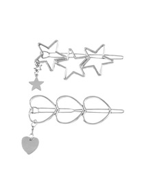 Fashion White K Alloy Pentagram Love Tassel Hollow Hair Clip Set