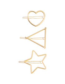 Fashion Heart + Star + Triangle Alloy Pentagram Love Heart Hollow Out Hair Clip Set