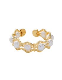 Fashion Golden Alloy Pearl Split Ring