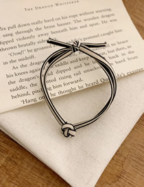 Fashion Black Rice Contrast Color Buckle Handmade Bow Rubber Band