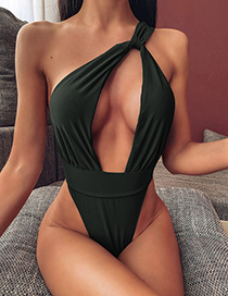 Fashion Black One Shoulder Hollow Backless One Piece Swimsuit